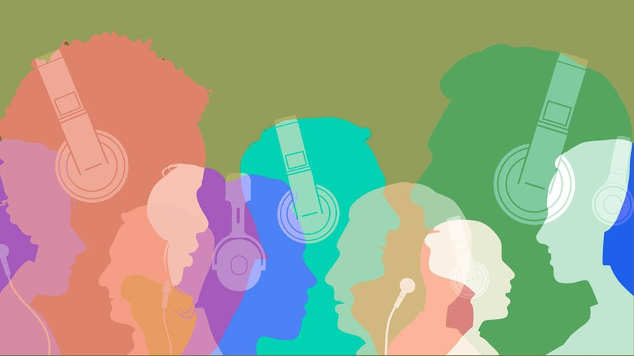 A green background; in the foreground there are numerous heads in all different colors with over the ear headphones on