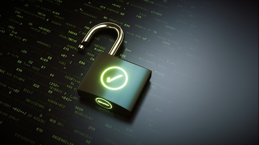 Illustration of digital lock and key for story about new legislation for large companies that monetize user data.