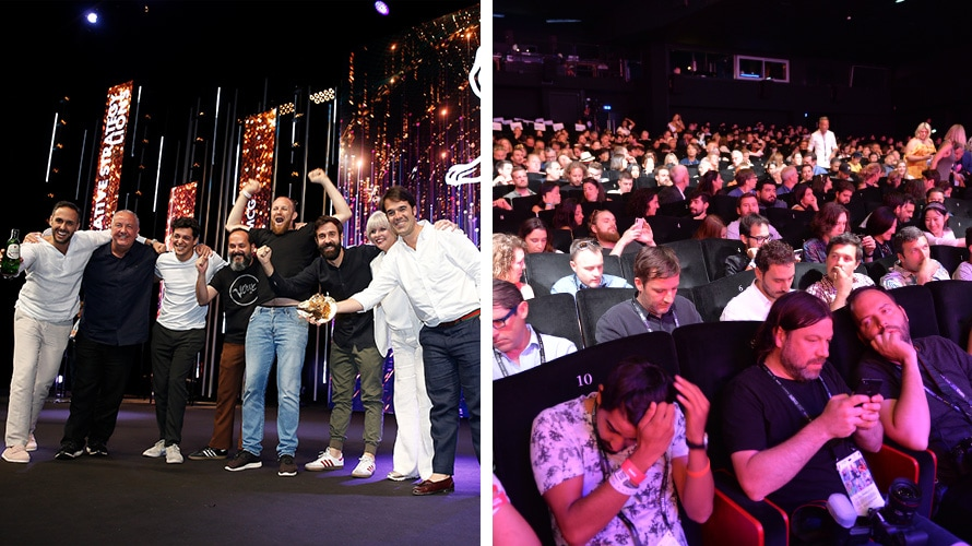 Two images; on the right is a group of people celebrating on stage; on the left is a group of people in an audience looking frustrated and distracted