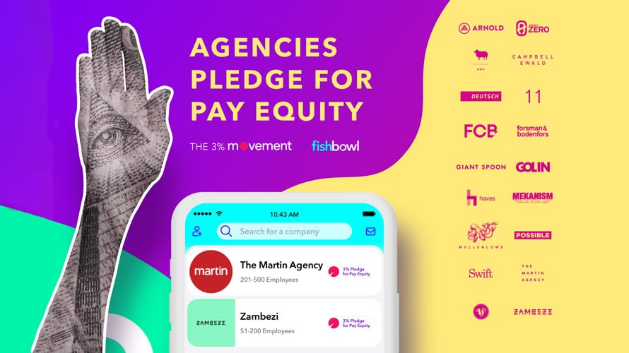 Fishbowl and The 3% movement agencies pledge for pay equity