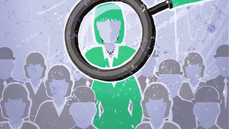A group of people in grey; one person in green; a magnifying glass scoping in on the green person
