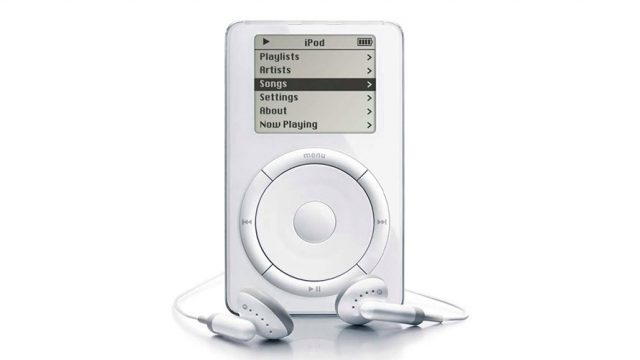 First generation iPod with headphones wrapped around the bottom of the iPod