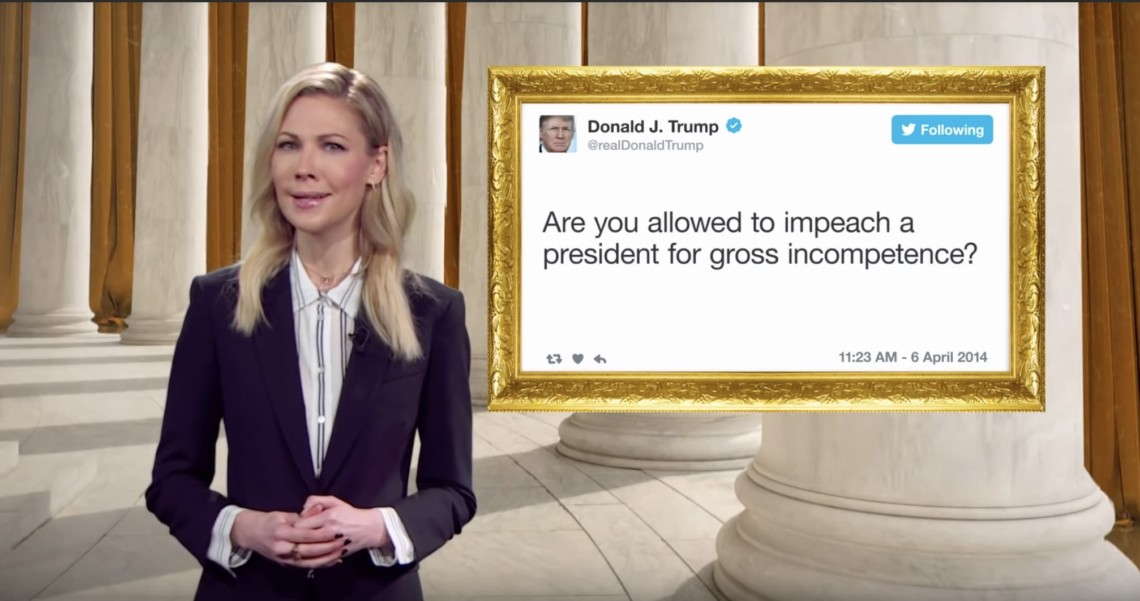 Still from The Daily Show's advertisement for the Presidential Tweet Library