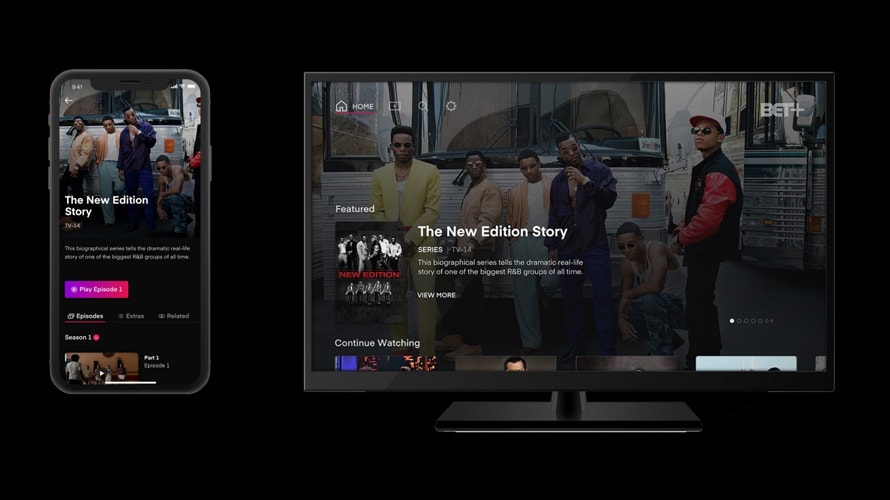 Screenshots of BET+, BET Networks' upcoming video on demand service