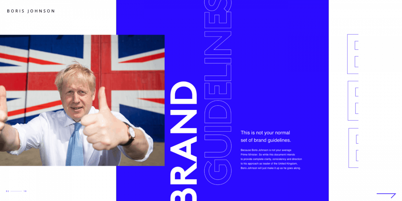 Page from Huge London's satirical brand guidelines for Prime Minister Boris Johnson