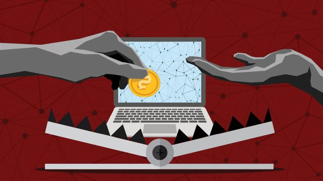 Illustration of a gray hand holding a yellow bitcoin over a laptop as a bear trap clamps shut.