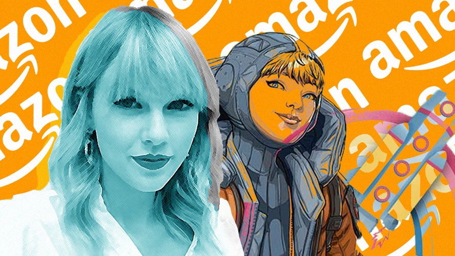 A composite illustration of Taylor Swift in cyan, an illustration of a female video game character, and a rocket ship on an orange background with a collage of Amazon logos in white
