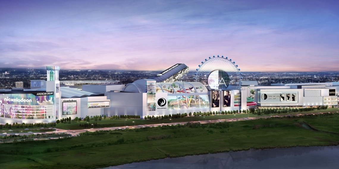 American Dream Mall with nickelodeon, dreamworks, and a ferris wheel