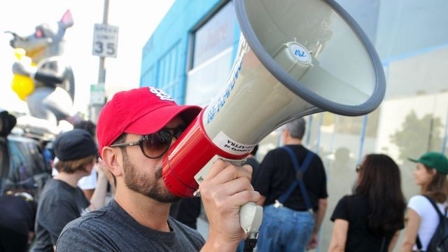 sag-aftra bbh union dispute contracts protest los angeles