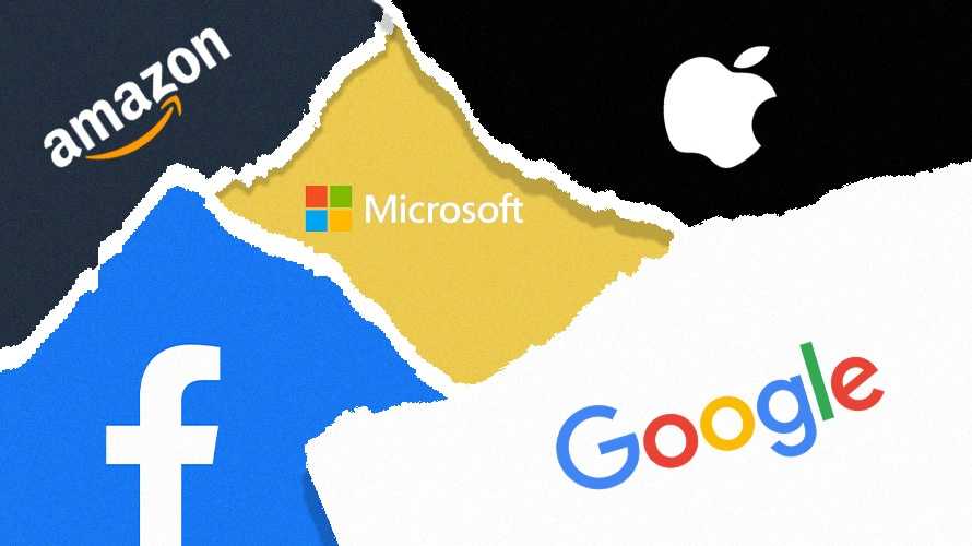 Logos of Amazon, Facebook, Apple, Microsoft and Google stitched together.