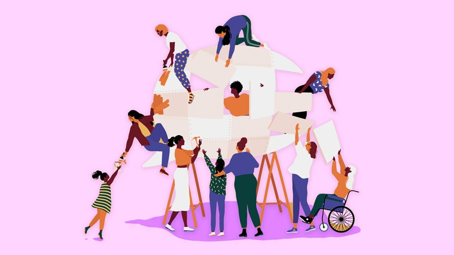 Illustration of different people of various races, abilities and genders helping each other climb and build a structure.