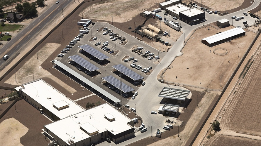 An aerial view of U.S. Border patrol facility in Clint, Texas
