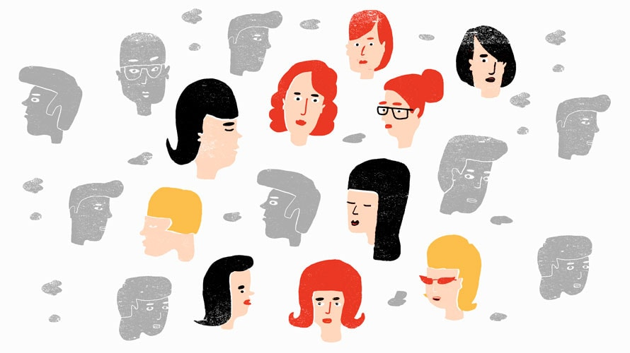 Illustration of different white men and women's faces.