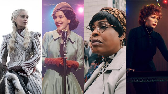 Images from Game of Thrones, The Marvelous Mrs. Maisel, When They See Us and Fosse/Verdon