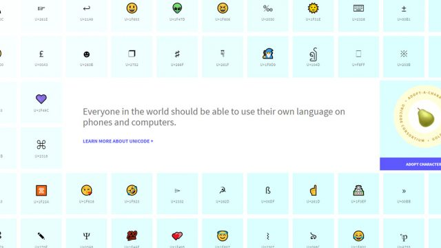 Screenshot of unicodes home page showcasing different emojis and codes