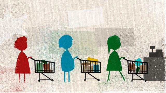 Illustrated people holding small shopping carts.
