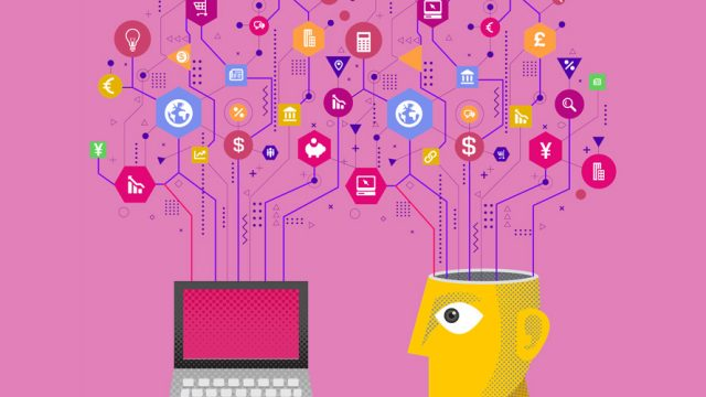 Pink background with a yellow head that has logos and wires popping out and connecting to a laptop.