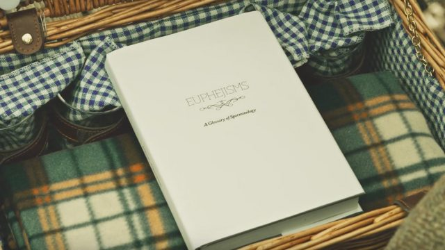 The book of Euphejisms, A Glossary of Sperminology inside a picnic basket