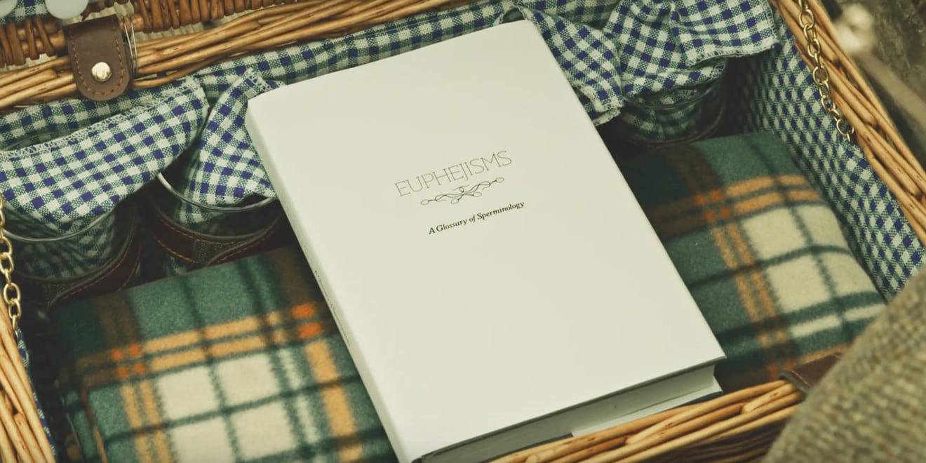 The book of Euphejisms, A Glossary of Sperminology inside a picnic basket