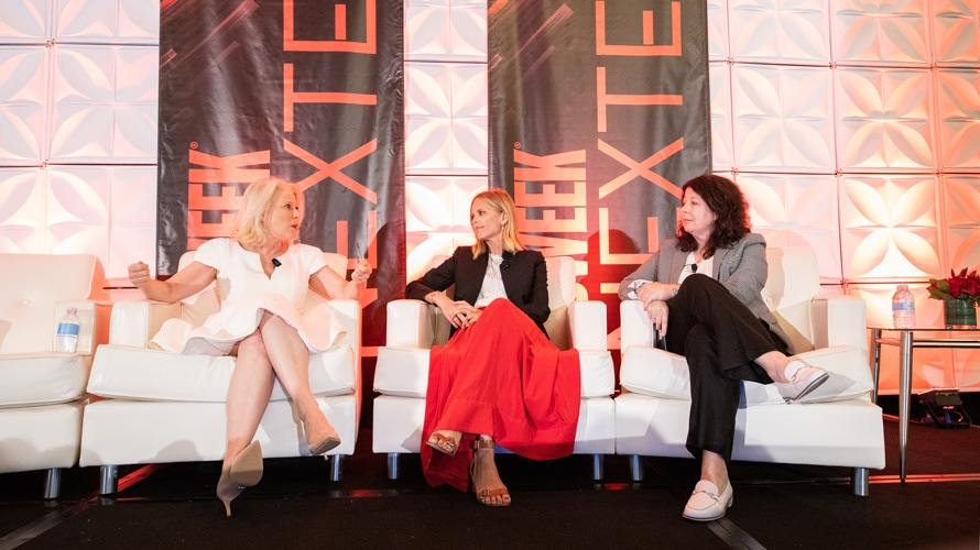 Linda Boff, Fiona Carter and Lisa Granatstein speak during an Adweek NexTech conference panel