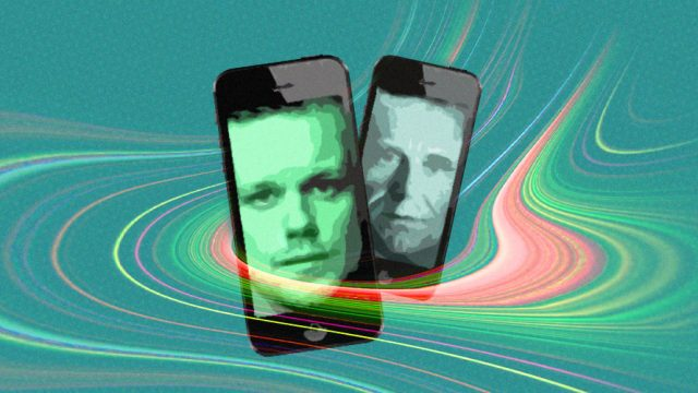 Image of two faces displayed on smartphones