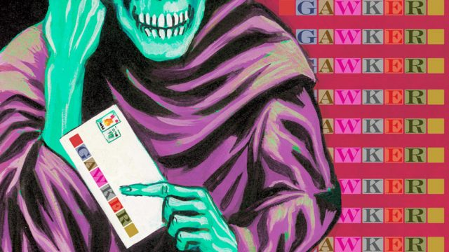 Cyan Grim Reaper with purple robe holding a letter with the Gawker logo