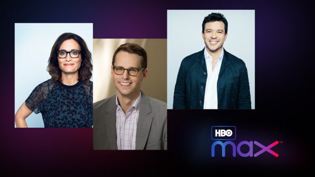 Headshots of Sarah Aubrey, Eric Besner and Joey Chavez with the HBO Max logo below