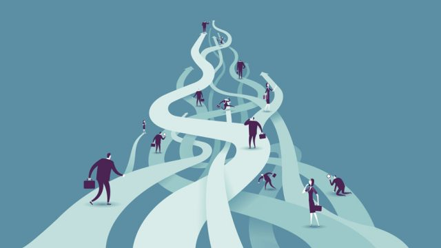 Illustration of winding paths and people in business attire walking up them.