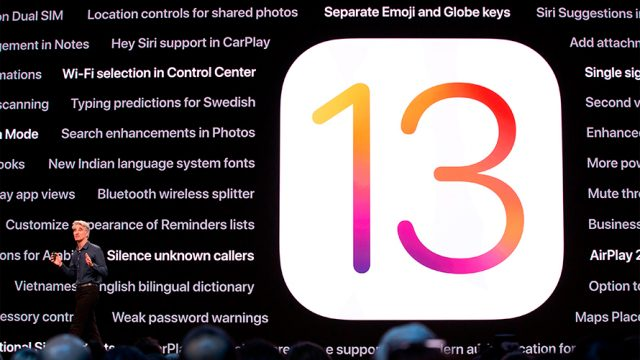 A photo with a red, purple and yellow 13 for the new iOS update.