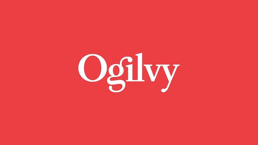 Ogilvy logo, white letters on red background