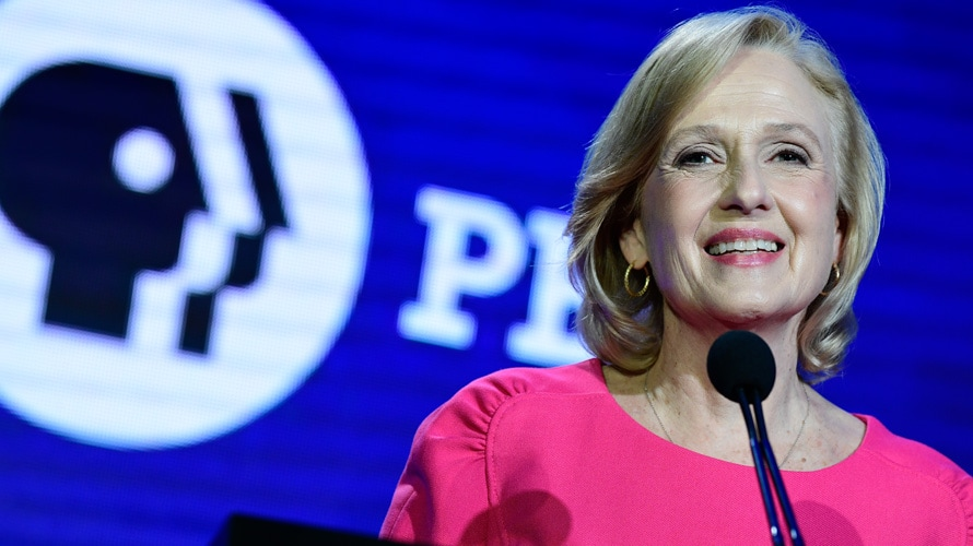 Image of Paula Kerger on PBS stage