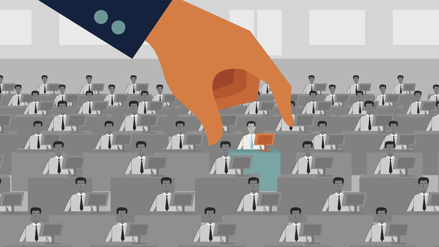 Illustration of a hand choosing from a group of men on computers