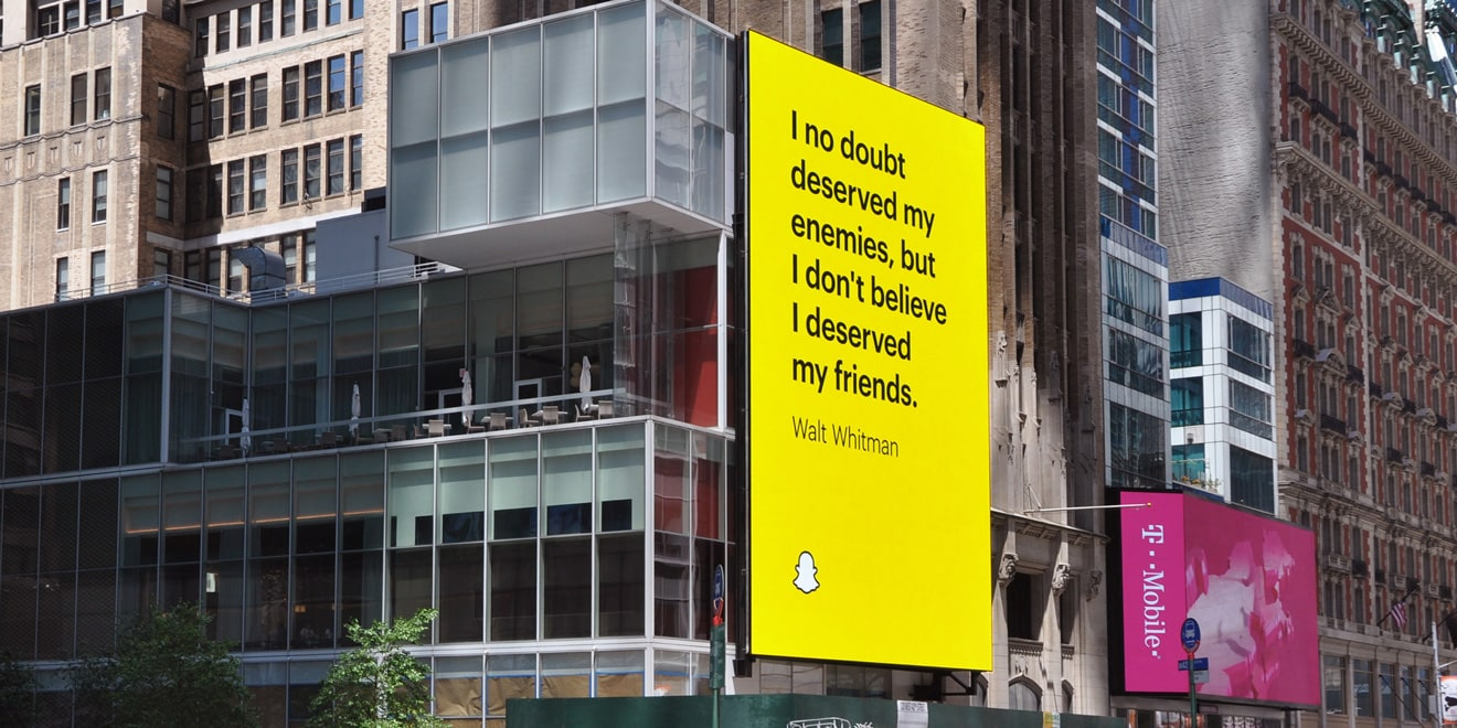 Snapchat OOH campaign ad featuring Walt Whitman