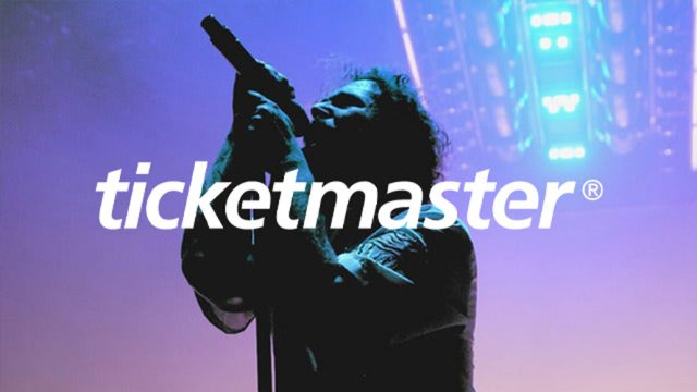 Ticketmaster logo on top of an image of Post Malone at a concert