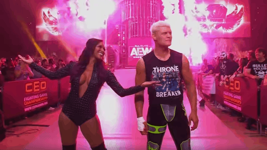A female and a male professional wrestler in costume playing to a crowd of fans