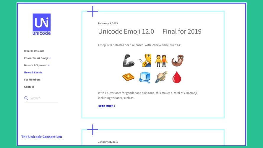 A webpage of Unicode Emoji 12.0