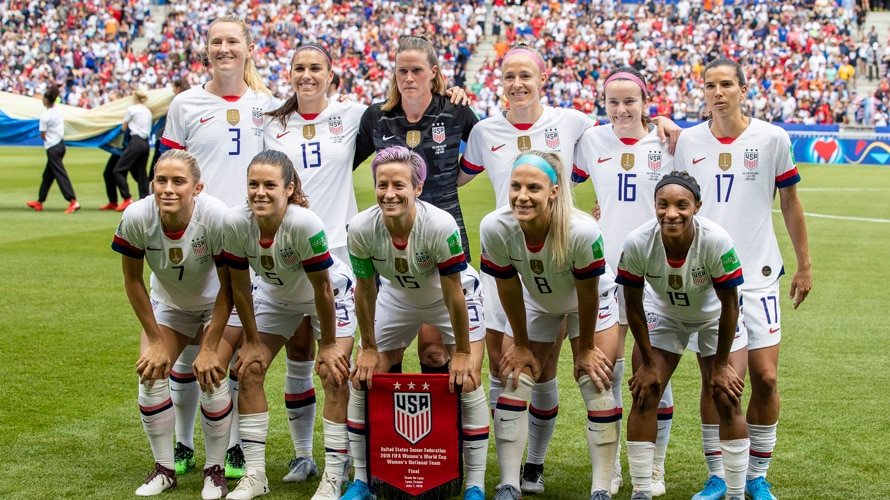 U.S. Women's National Soccer team group photo in the field during the World Cup finals