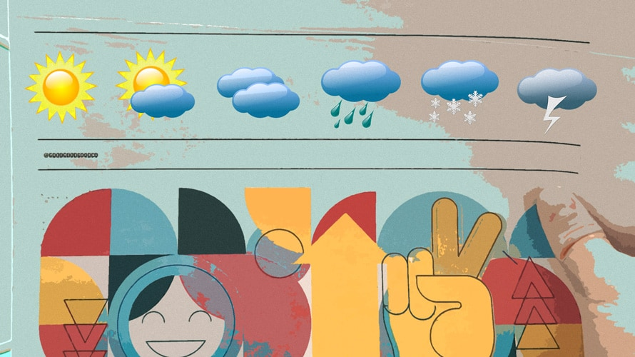 Illustration of a sun with a small cloud, cloud, rain cloud and snow clould above a peace sign and smiling face and other shapes.