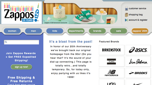 Image showing Zappos' 1999 homepage