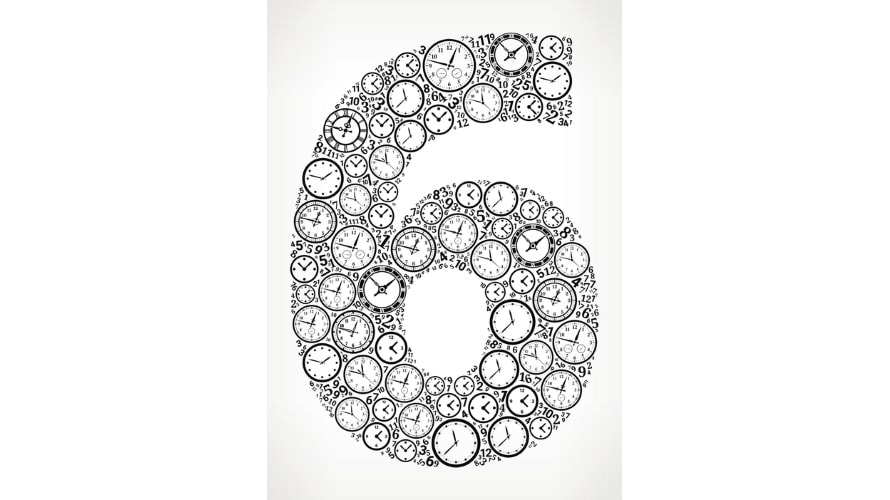 the number 6 made out of clocks