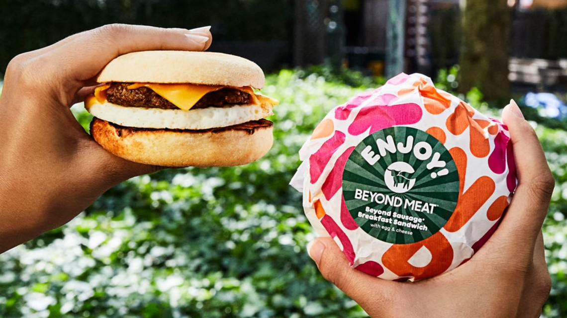 Two faux meat sandwiches from Dunkin'.
