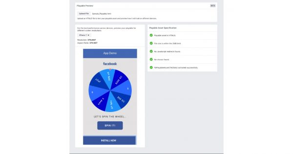 Facebook Released a Playable Preview Tool for Its Playable Ads