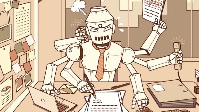 Busiest robot in the office with a heavy workload on all of his six hands.