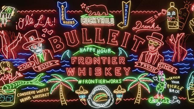 Branded neon art for Bulleit
