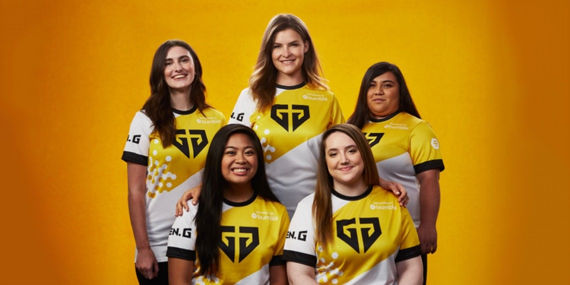 All-women Fortnite esports team posing in jerseys