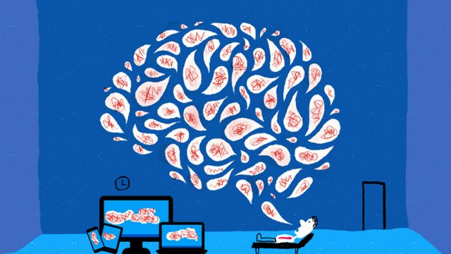 An illustration of a person laying on a couch speaking, with thought bubbles forming a brain, as devices pick up on that.