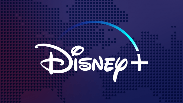Disney+ logo on navy and purple with north america and australia maps in the background