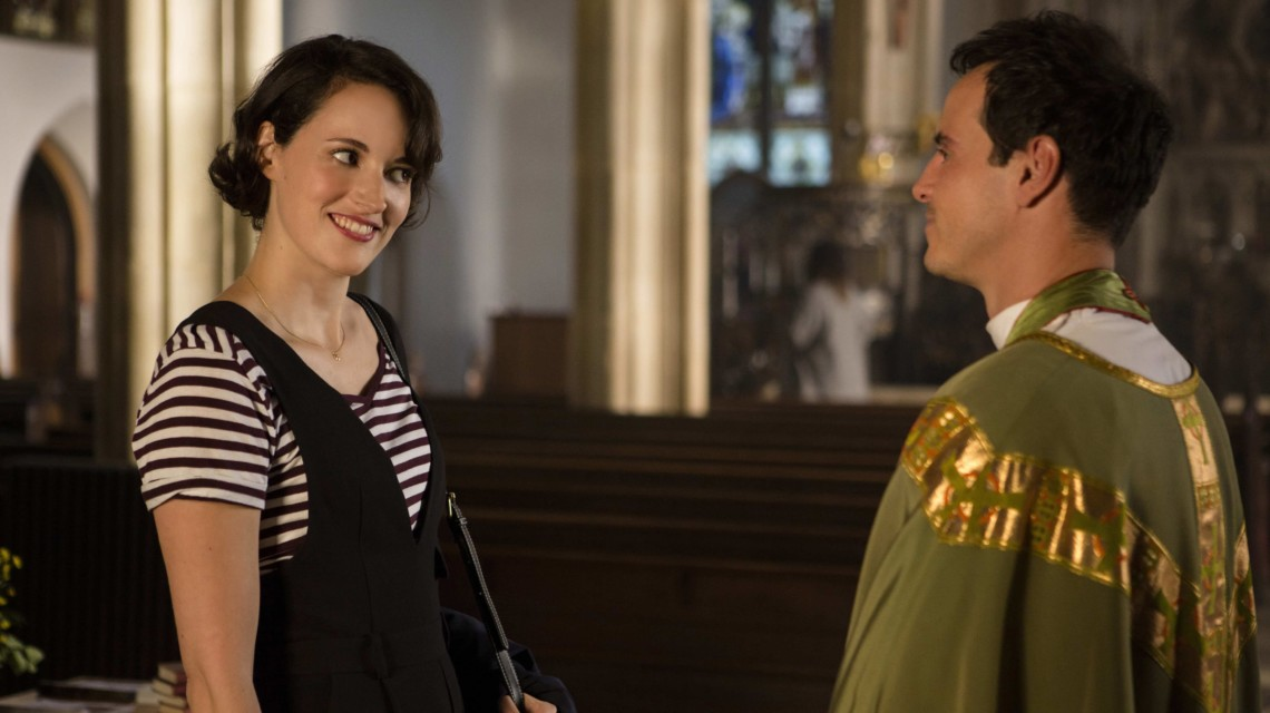 A screengrab from Fleabag, with a man and woman looking skeptically at each other.