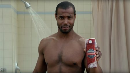 Old Spice Guy in the shower