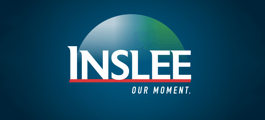 """jay inslee campaign logo for the 2020 presidential election featuring an abstract globe and the text """"our moment"""""""